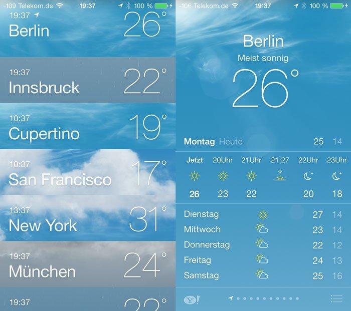 iOS 7 Beta 3 - Überarbeitete Wetter-App