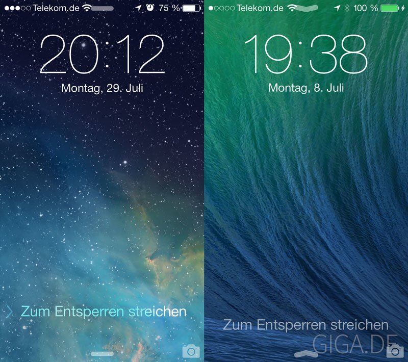 Überarbeiteter Lockscreen: iOS7b4 (links) - iOS7b3 (rechts)