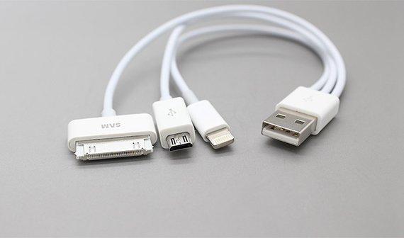 USB-Ladekabel mit Lightning, 30-Pin und Mikro-USB für 2,25 Euro