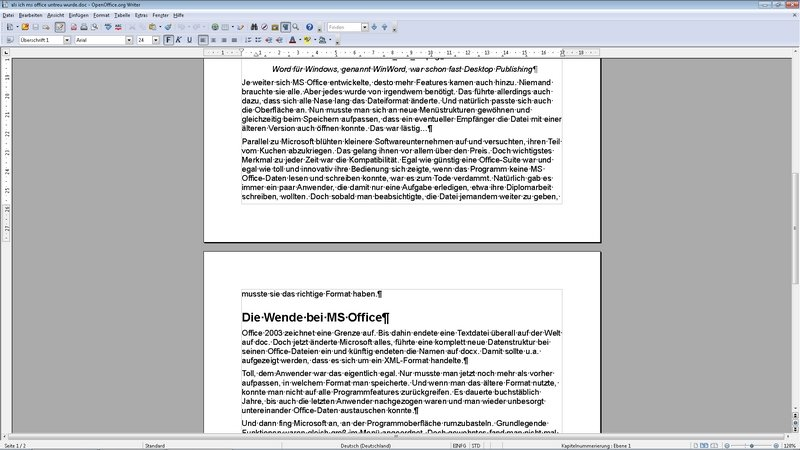 Kostenlose Office Programme OpenOffice Writer