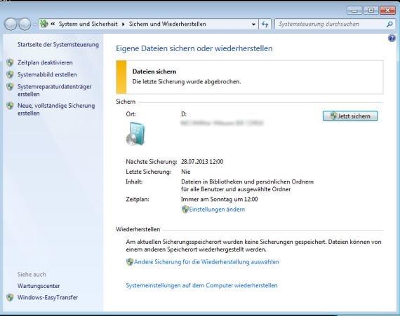Windows 7: Backup mit Bordmitteln - so funktioniert's