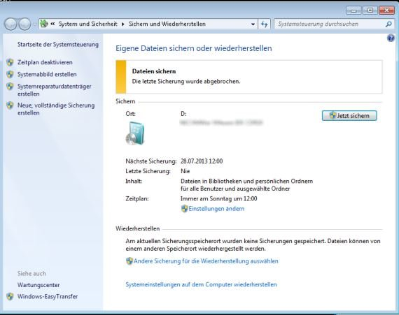 Windows 7: Backup mit Bordmitteln - so funktioniert's