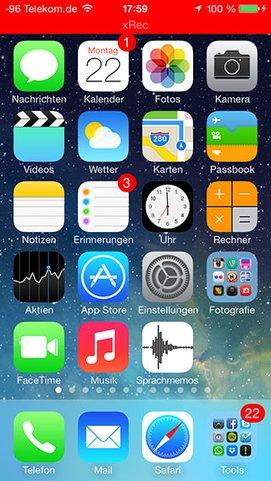 Aufnahme mit xRec - unter iOS 7 Beta bleibt das Video aber schwarz