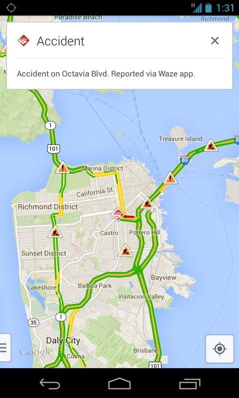 Google Maps mit Verkehrsinfos von Waze