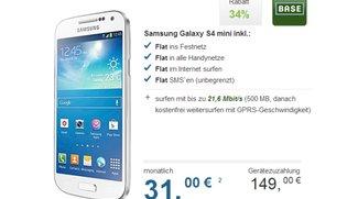 BASE all-in Allnet-Flat mit Samsung Galaxy S4 mini für 31,00 pro Monat