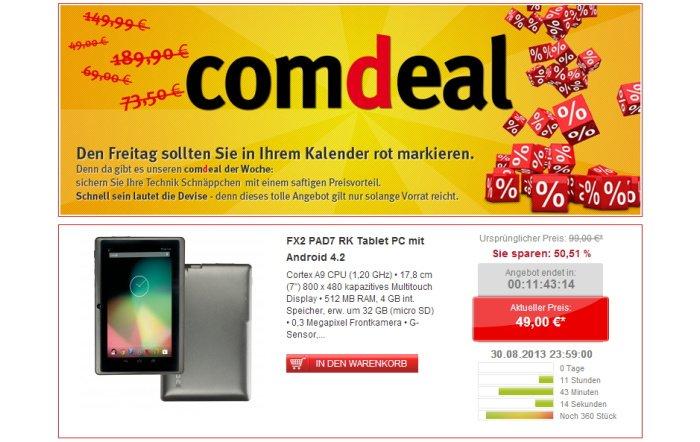 FX2 PAD7 RK Einsteigertablet mit Android 4.2 für 49,00 Euro bei comtech