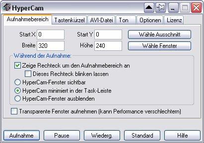HyperCam-2-Aufnahmebereich