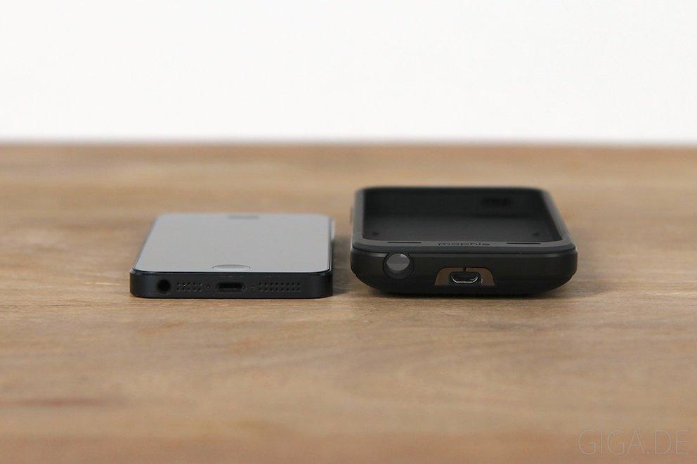 Mophie Juice Pack Air - im Vergleich zum iPhone 5
