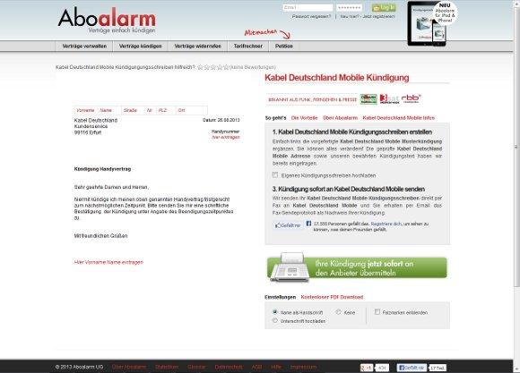 abschicken der kndigung kabel deutschland mobile vorlage - Kundigung Kabel Deutschland Muster