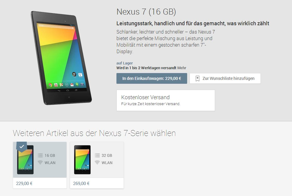 Nexus 7 2013 im Play Store verfügbar