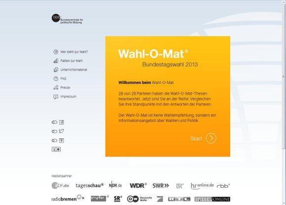 Wahl-O-Mat 2013 Oberfläche