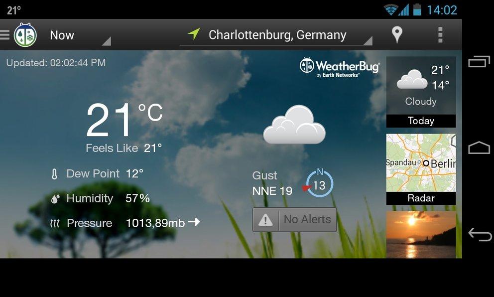 Weatherbug: Viele Funktionen mit extra Widget.