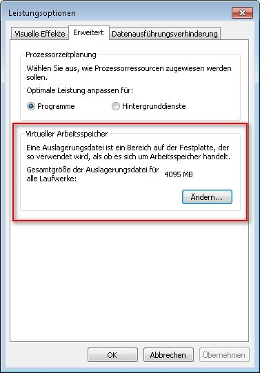 auslagerungsdatei windows 7