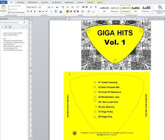 CD Cover in Word erstellen