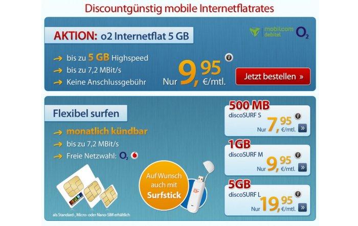 discoSURF o2 Internetflat mit 5 GB für 9,95 Euro pro Monat