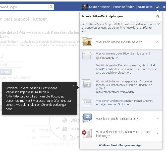 facebook anmelden erste privatsphaere