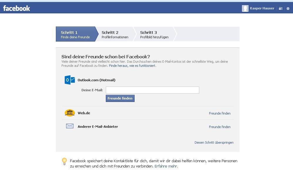 Wie finde ich Freunde auf Facebook per E-Mail?