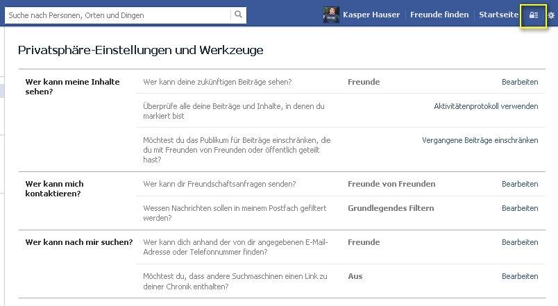 facebook privatsphaere einstellen