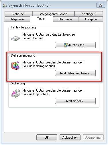 festplatte defragmentieren windows