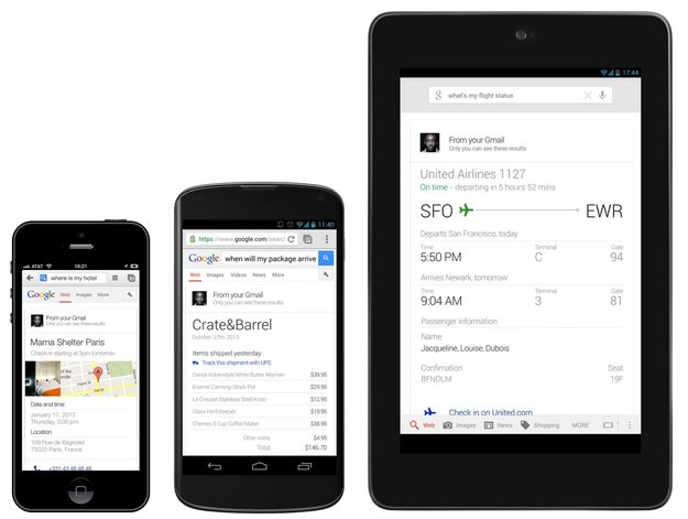 Google-Suche: Google Now-Funktionen in der Websuche