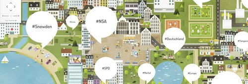 Google Wahl-Portal: Debattenkarte mit Hashtags