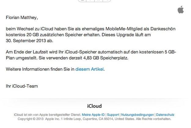 iCloud: Apple erinnert an Umstellung auf 5 Gigabyte für Ex-MobileMe-Kunden