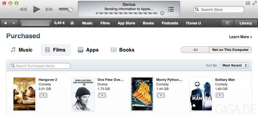 iTunes in der Cloud für Filme