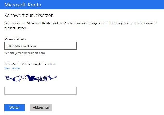 Microsoft konto passwort vergessen