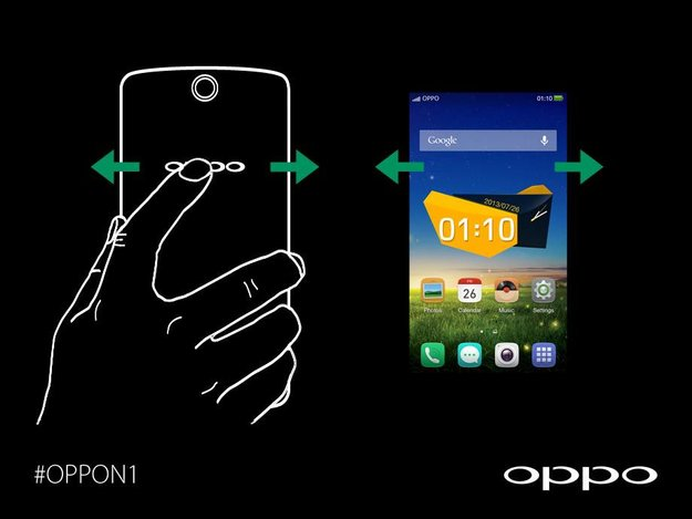 Oppo N1: Per Touch-Rückseite durch Homescreens scrollen