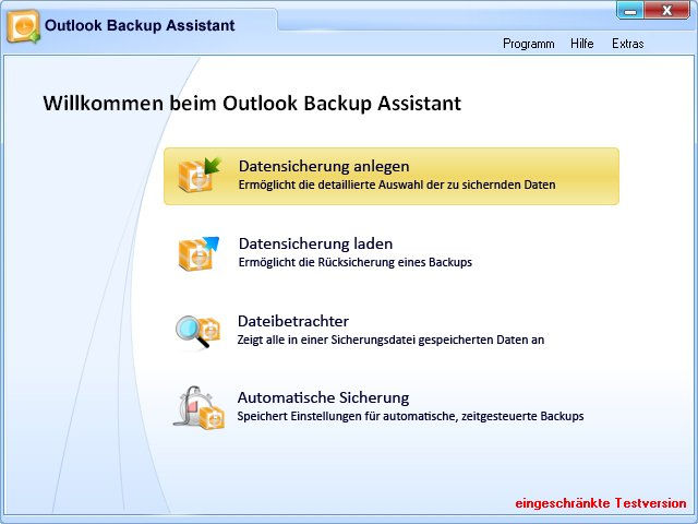 outlook backup assistent