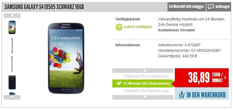 Galaxy S4 für unter 450 Euro: Nullprozentshop senkt Preise für Samsung-Smartphones [Deal]