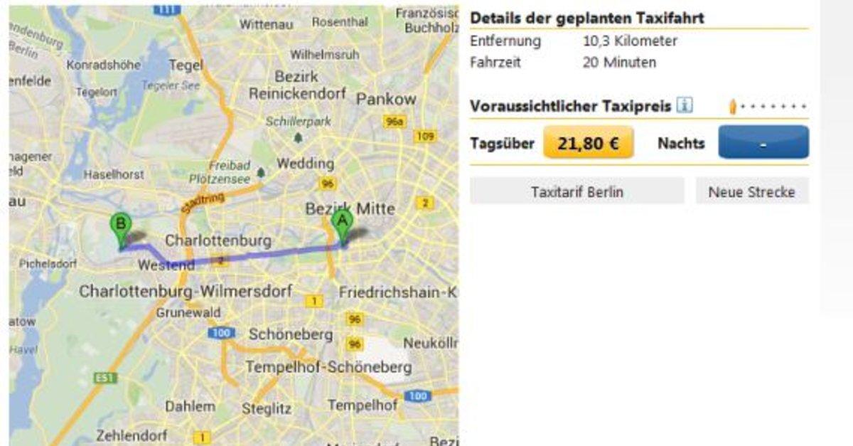 taxikosten berechnen online mit app android iphone. Black Bedroom Furniture Sets. Home Design Ideas