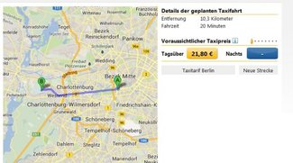 Taxikosten berechnen: online, mit App (Android, iPhone) und im Browser