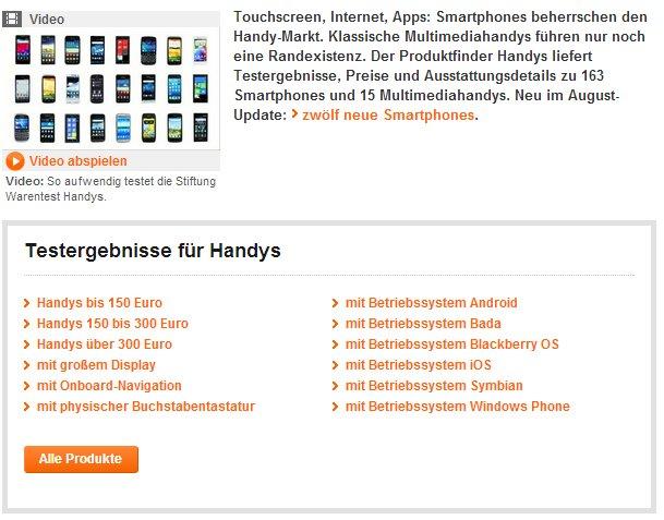Stiftung Warentest mit großer Smartphone-Vergleichsdatenbank