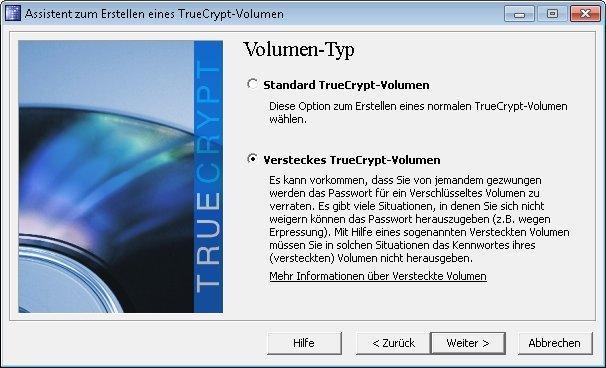 truecrypt verstecktes volumen