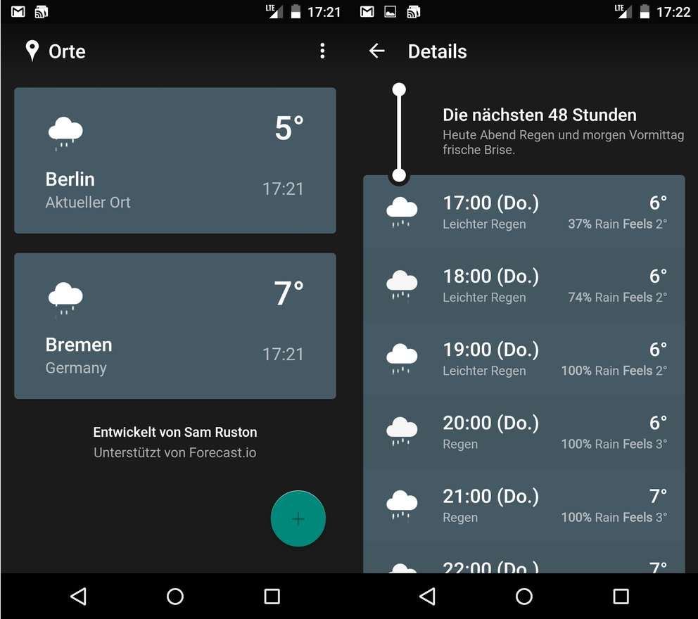 Weather Timeline – Forecast: Wetter-App im Material Design.