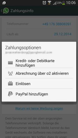 whatsapp bezahlen