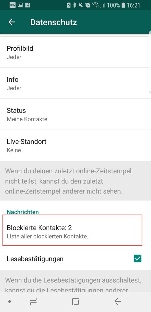 WhatsApp Status sichtbar wenn blockiert?