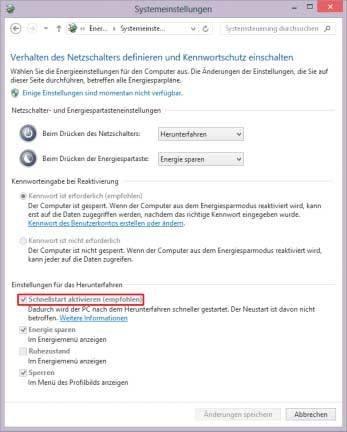 windows 8 boot-schnellstart deaktivieren