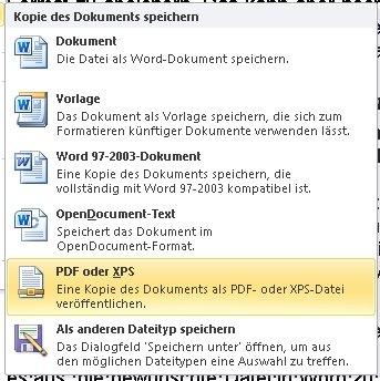 word pdf speichern