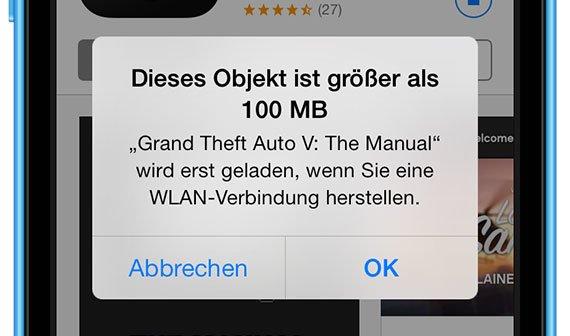 iOS 7: Apple erhöht Limit für App-Downloads über Mobilfunk auf 100 MB