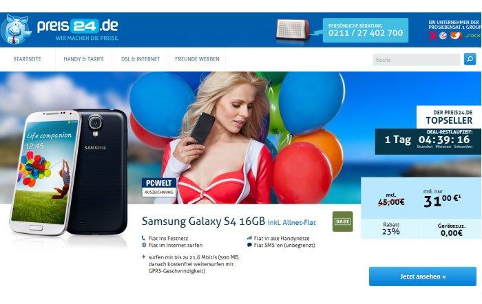 BASE all-in mit gratis Samsung Galaxy S4 für 31,00 Euro pro Monat