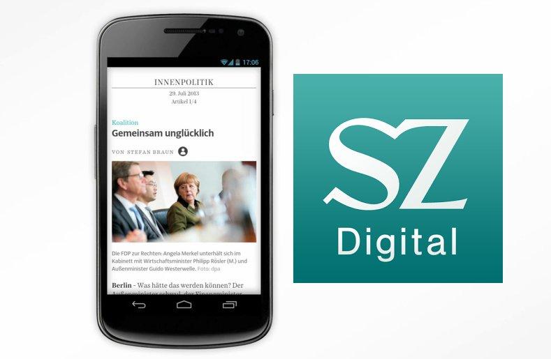 SZ Digital: Die Süddeutsche Zeitung als Android-App