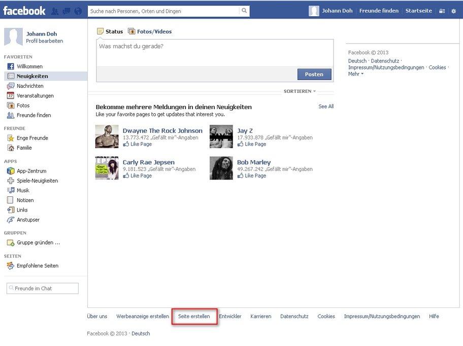 facebook seite erstellen link