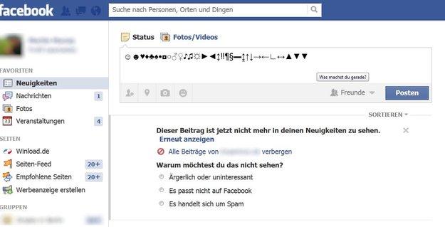 Facebook: Zeichen und Symbole benutzen (Herz, Sterne…) - so geht's