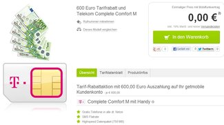 Tariftipp: Telekom Complete Mobile M-Vertrag mit 600 Euro Auszahlung bei getmobile [Deal]