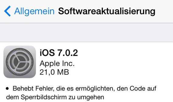 Sicherheitsupdate: iOS 7.0.2 veröffentlicht