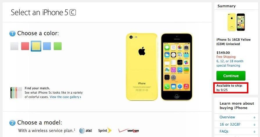 iPhone 5c: Gelbe SIM-frei-Variante in USA ausverkauft