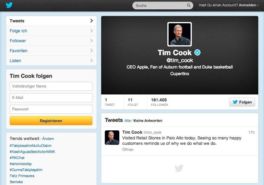 Tim Cook twittert