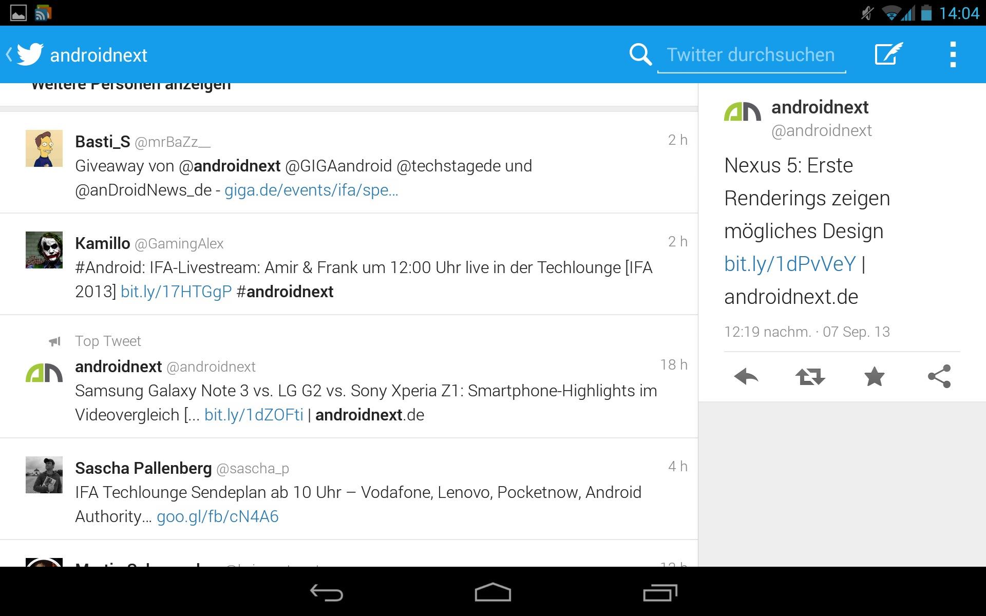 Twitter für Android: Tablet-optimierte Version vom Galaxy Note 10 1